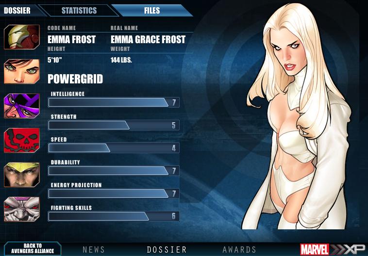 Marvel XP: Emma Frost stats