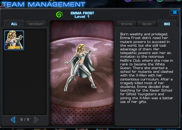 Avengers Alliance: Emma Frost gear