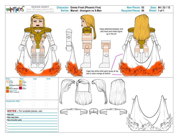 Emma Frost: Minimate design sheet