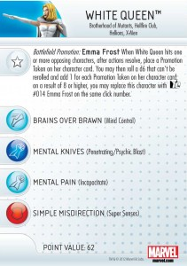 Emma Frost White Queen HeroClix, Front Card