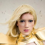 Cosplayer as Emma Frost in her Phoenix Five costume