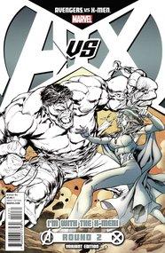 Avengers vs X-Men #2, Hulk vs Emma Black and White Variant