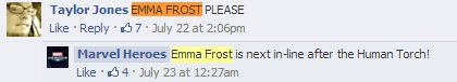 Confirmed: Emma Frost after Human Torch